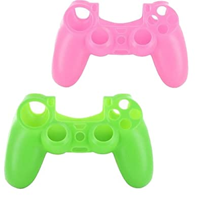 lilyy® 2 Pack Silicone Case Skin Protector Cover for Playstation 4 PS4 Wireless Game Controller(Pink,Green)