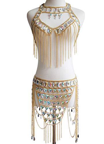 XIRENZHANG Cadena sexy para el cuerpo, traje y falda, para verano, festival, ropa, bikini, joyas, multicapa, cintura retro, cadena de cuerpo de cristal, color dorado