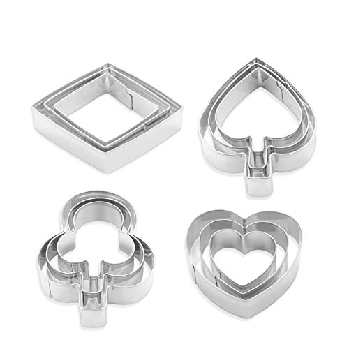 Yunko Poker'Playing Bridge' Stainless Steel Cookie Cutter Fondant Cutter 12pcs / Set, Diamond Heart
