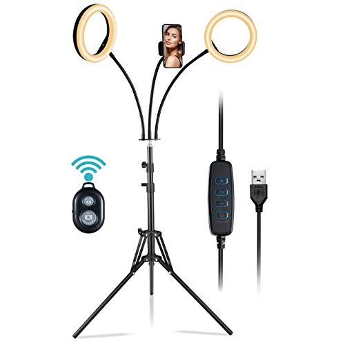 Doppia 8' Selfie Ring Light Da Telefono, Luce TikTok Con Treppiede&Cellurare Holder&Telecomando, 6 Modalità&10 Luminosità, iPhone, Youtube, Trucco, Fotografia, Streaming live