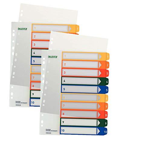 Leitz 12930000 PC-beschriftbares Register, A4, Polypropylen, 1-10, mehrfarbig (2er Pack)