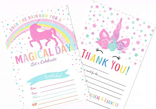 Unicorn Birthday Party Invitations + Thank You Cards set For Girls (25 cards each) with Envelopes (50 Counts) | Magical Birthday Invitations Pack | 100 Counts