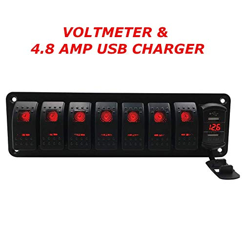 Switchtec 3 5 7 Gang Rocker Switch Aluminum Panel with 4.8 Amps Dual USB Fast Charger with Voltmeter, Red Backlit Led, Pre-Wired for Marine, Boat, Car, Truck(4.8A USB & 7 Switches Red)
