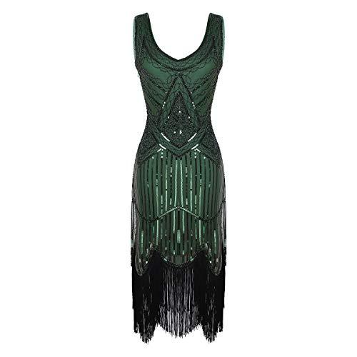 inlzdz Vestidos Vintage de Mujer de los años 20 Vestido de Danza Latina con Borlas Lentejuelas Disfraz Bailarina Vestido de Fiesta Cóctel Ceremonia Verde Oscuro A Small