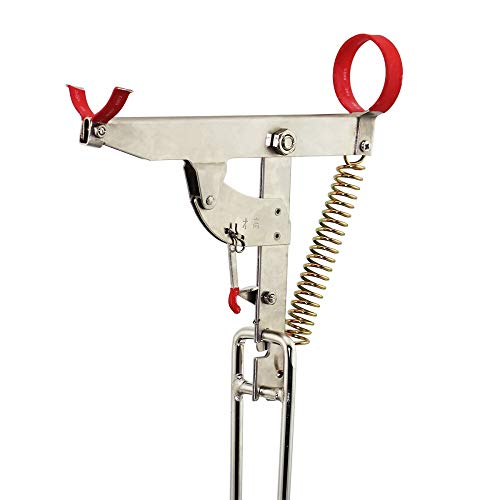 Automatic Spring Fishing Rod Holder for Ground Support Stand, Full Stainless Steel & Folding, Great for Bank Fishing on Lakes & Streams
