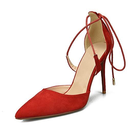 Comfortabel en veelzijdig temperament Enkelband sandalen for vrouwen Stiletto hoge hakken pumps met koord Gerichte Faux schoenleest hjm nvxie jfidmra (Color : Red, Size : 36 EU)
