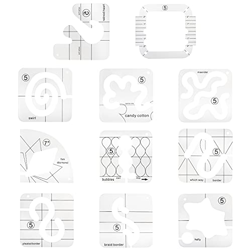 Tysun 11 Pcs Free-Motion Quilting Templates, Domestic Sewing Machine Ruler Template with Quilting Frame for DIY Quilting
