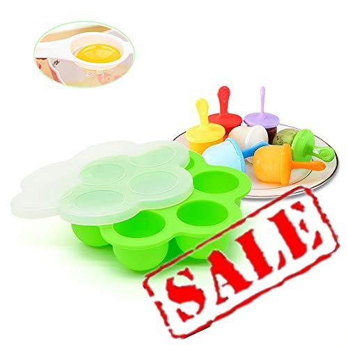 7 Fächer Behälter zur Aufbewahrung mit Deckel von Babynahrung 70ml, BPA-frei, Plus Wiederverwendbares Silikon Eiscreme Set, perfekt als Ergänzung zu Vitamin C im Sommer, Geschenk für Eiertrenner