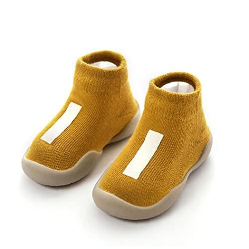 Unisex baby Sokken Schoenen Anti Slip Floor Sokken met zacht rubber bodemzuigeling Pasgeboren Wollen Sok Boots voor Indoor Outdoor L Geel