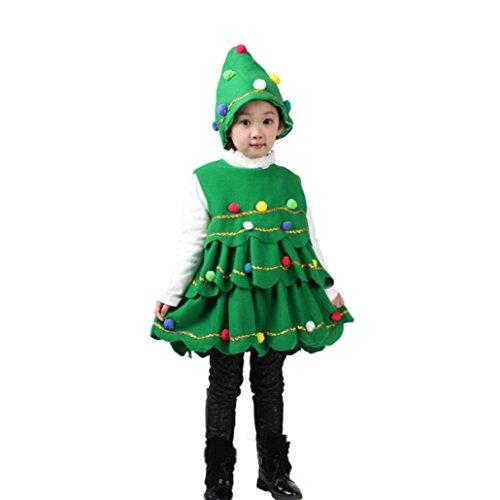 Kobay Kleinkind Kinder Baby Mädchen Weihnachtsbaum Kostüm Kleid Tops Party Weste + Hut Outfits (110 / 4Jahr, Grün)