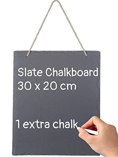 Praknu Schiefertafel zum Beschriften und Aufhängen - 30x20 cm - Bruchsicher - Mit Kreide und Jutekordel