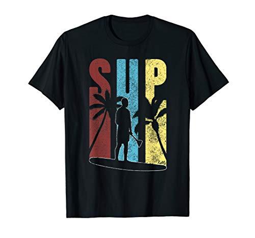 Herren Retro SUP Shirt Für Männer Palmen Stand Up Paddle T-Shirt