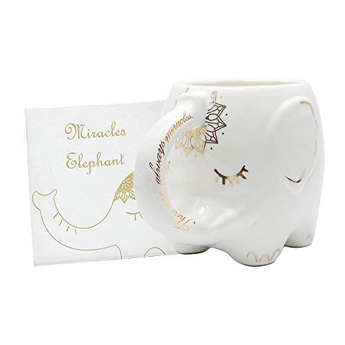 Taza de café de elefante con posavasos Taza de leche de té...