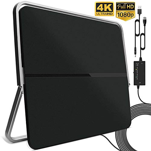 Indoor TV Aerial, 4K 1080P Digital HDTV Antenna 120 Miles Range Free View Local Channels with 16.5FT Coax Cable and Amplifier Signal Booster Support All Television