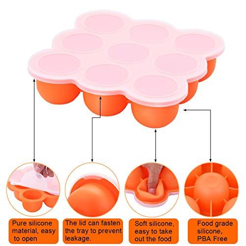 UMIGAL Babybrei Aufbewahrung zum Einfrieren von Babynahrung und als Behälter für Beikost | 2 Farben zur Auswahl | BPA-frei & FDA zugelassen | 9 x 75ml, ideale Portionsgröße (Orange)