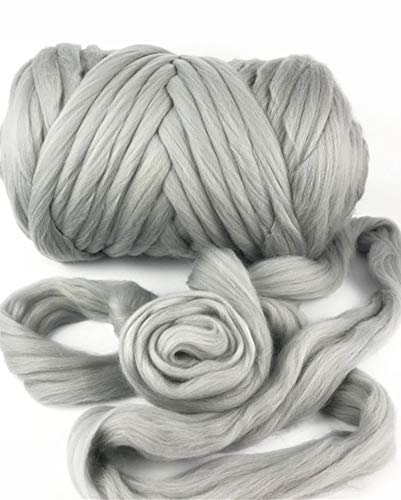 HomeModa Studio Giant Bulky Big Yarn Extreme Arm Knitting Kit Chunky Knit Blanket Very Thick Gigantic Yarn Massive Knitted Loop (Grey, 6.6lbs/150 yard/3kg)