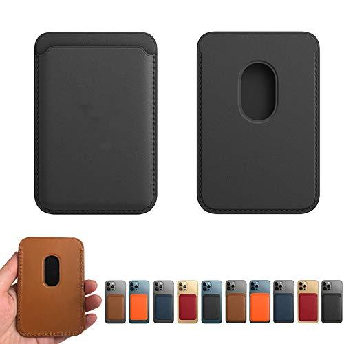 Tarjeta de teléfono de radiofrecuencia magnética Holde-Cartera de Cuero Genuino Compatible con iPhone 12 / Pro/Mini/MAX, Tarjetero magnético Magsafe RFID, Tarjetero con imán para teléfono (Black)