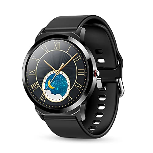 Reloj inteligente, rastreador de ejercicios con pantalla táctil de alta definición circular completa de 1.28 pulgadas, con función de frecuencia cardíaca, IP67 a prueba de agua, rastreador de sueño