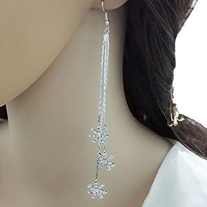 YABINA Long Tassel Luxury Snowflake Crystal Dangling Earrings Jewelry Accessories (Silver)