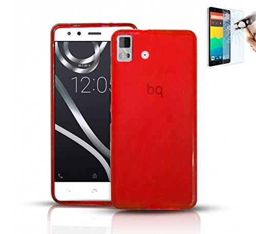 Todobarato24h Funda TPU Lisa Compatible con BQ AQUARIS E5 HD FHD ROJA + Protector DE Cristal Templado