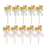 Tendycoco 30 piezas de decoración para cupcakes con lazo para tartas, postres, decoración para tartas de cumpleaños, fiesta de baby shower (15 unidades de lazo azul, 15 lazos rosados) 12x4.5cm