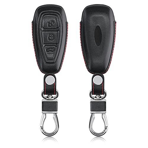 kwmobile Funda para Llave de Coche Compatible con Ford - Carcasa de Cuero Delgada para Mando de Coches - Negro/Rojo