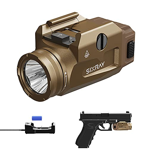 SIXRAY 600 Lumens Gun Lights for Pistols Rechargeable Rail Mount Tactical Flashlight for Picatinny MIL-STD-1913 and Glock Mini Compact LED Pistol Light with CR123A Battery and Charger, Gold