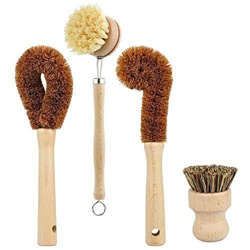N\A Cepillo de fregado de Mano Haya Madera y el Coco de cerdas de Madera Pan y Mina Cepillo de Limpieza a Base de Plantas de Limpieza del Sistema de Cepillo de 4 Piezas Lavando el Cepillo de fregado