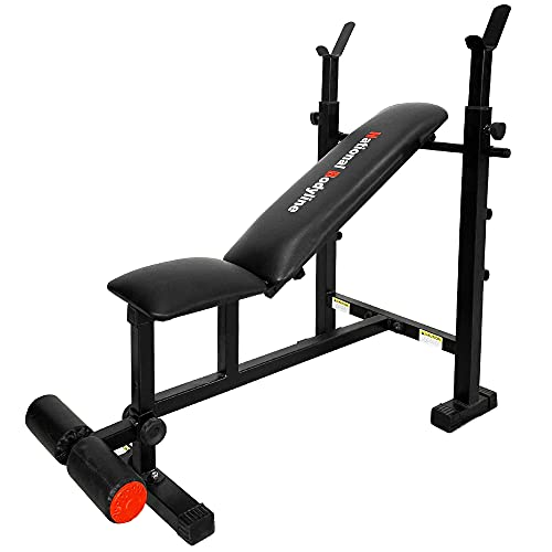 National Bodyline Adjustable Weight Bench Full Body Workout Machine, Foldable Inclined Decline Flat Bench Press, Exercise Table, Fitness Gym Bench - Black (NB 750)