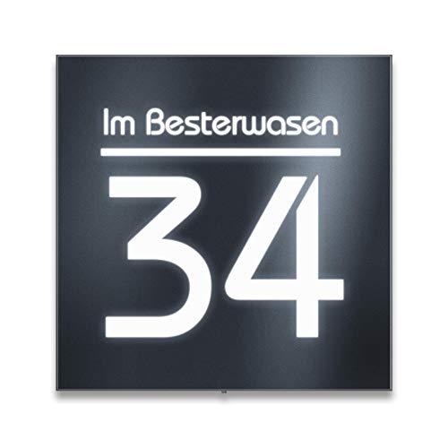 Metzler Hausnummer Edelstahl mit LED-Beleuchtung - Anthrazit RAL 7016 - inklusive Beschriftung - modernes Design - Hausnummernschild groß (Straßenname oben)