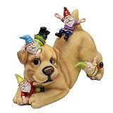 TERESA'S COLLECTIONS Hund Gartenfiguren für Außen mit 4 Lustige Wetterfest Gartenzwerge Figuren 22cm Kunstharz Feengarten Gartendeko für Terrasse Rasen Haus Balkon oder Tür