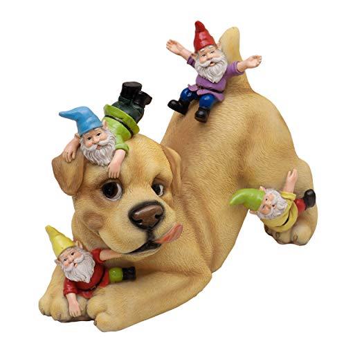TERESA'S COLLECTIONS Adornos de Jardín de Gnomo, 28.5cm Figurilla de Resina de Travieso Perrito y Gnomo, Accesorios de Estatua al Aire Libre, Decoración de Navidad para Casa, Césped