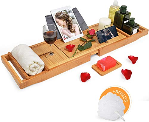 Domax Bathtub Caddy Tray with Wine Glass Holder - Adjustable Book Stand with Waterproof Cloth Extendable Non Slip Sides 2 Removable Boards Bamboo Bath...