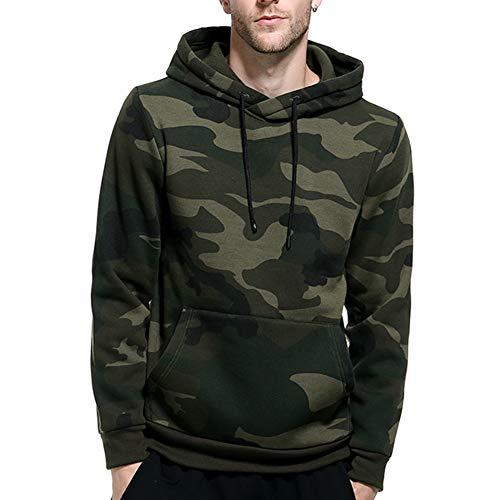 Acelyn - Sudadera informal con capucha con forro polar para hombre, camuflaje, negro, caqui, gris, S-2XL