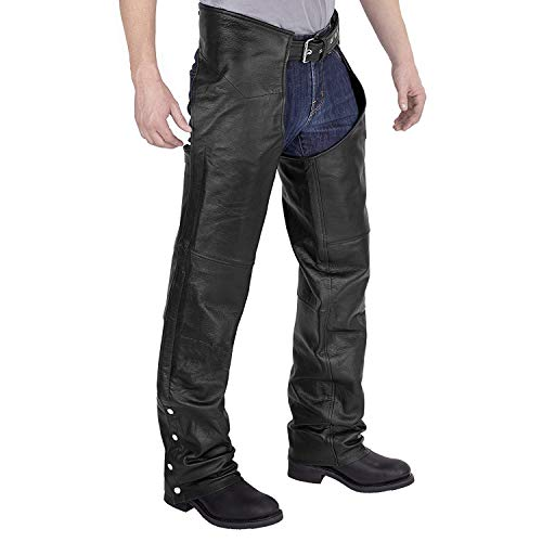 Viking Cycle Leather Chaps - Plain Motorcycle Leather Chaps for Men (X-Small)