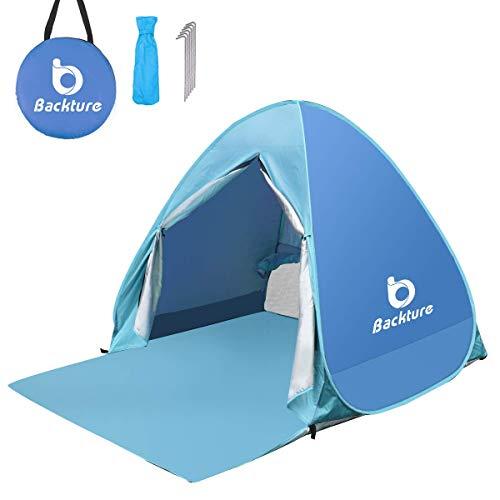 BACKTURE Tenda da Spiaggia, Pop-up Tenda Portatile per Famiglia Fino a 2-3 Persone, Protezione UV Tenda Resistente all'Acqua Ventilato con Porta Cerniera per la Famiglia per Campeggio Pesca Giardino
