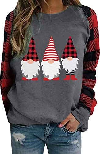 Christmas Pullover Sweatshirts for Womens Long Sleeve Plaid Patchwork Sweater Crewneck Casual Shirts Tops (A, Large)