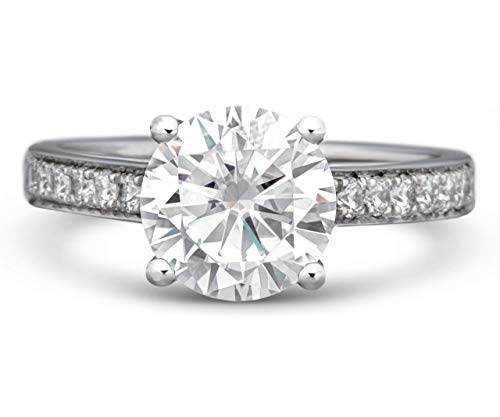 Moissanite and Diamond Engagement Ring 2 Carat Moissanite Center Stone Surrounded by Natural Diamonds Totalling 0.50 Carat in a Beautiful 18K White Gold Setting (D-E VVS1)