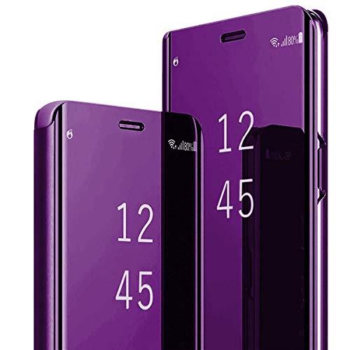 LORDZMIX Compatible con Samsung Galaxy A12, Funda de Espejo, Funda de Piel sintética con Tapa [Soporte] Fina y Transparente PC de plástico Duro, Funda Protectora de Piel para Samsung A12