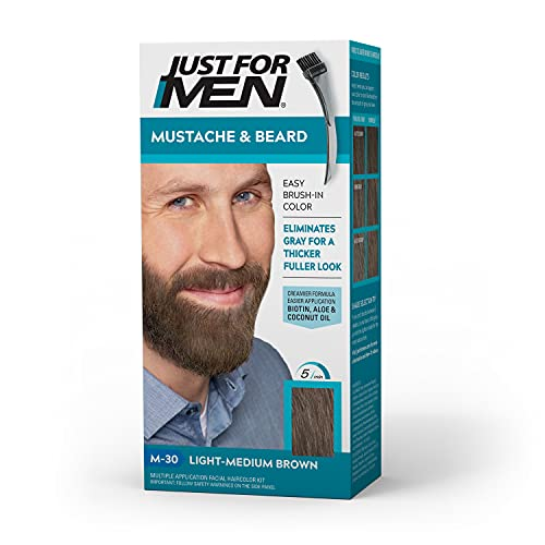 Just For Men Mustache & Beard, Beard Coloring for Gray Hair with Brush Included for Easy Application, With Biotin Aloe and Coconut Oil for Healthy Facial Hair - Light-Medium Brown, M-30