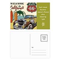 カラフルなクラシックカー・ビーチ・パターン 詩のポストカードセットサンクスカード郵送側20個