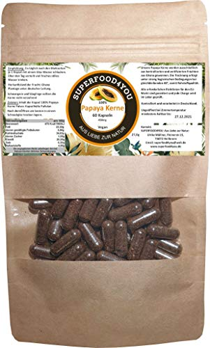 Papaya Kerne Kapseln 60 Stück bei 40° kontrolliert getrocknet - Rohkostqualität - Ohne Zusatzstoffe - Garantiert rein - Gluten - Laktosefreie Papaya Samen - Papain/Milde Schärfe