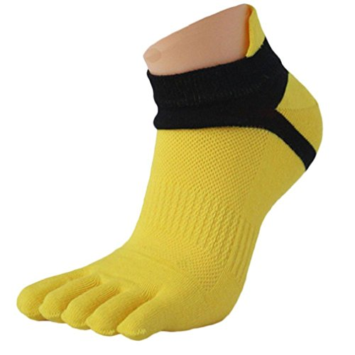 1paio Uomo Calze, tefamore Mesh Meias Sport Running cinque dita Toe Socks, giallo