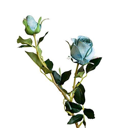 Jia HU 1pièce Arrangement de fleurs Rose artificielle plantes d'intérieur Office Home Décoration de mariage bleu