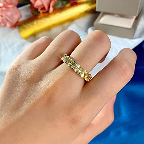 Anillo de Compromiso de Piedras Preciosas de Diamantes de Moissanite simulado Amarillo Claro 925 de Plata Maciza para Mujer, alianzas de Boda, joyería Fina