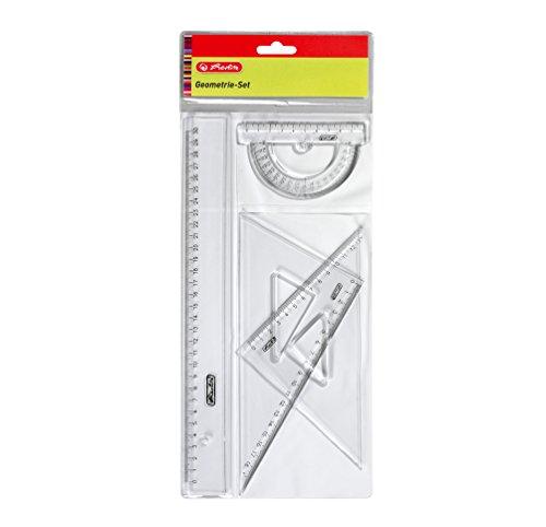 Herlitz Geometrie-Set, 4-teilig, Kunststoff, Klarsichtpackung