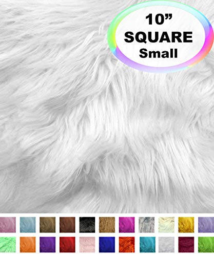 "Barcelonetta | Faux Fur Squares | Shaggy Fur Fabric Cuts, Patches | Craft, Costume, Camera Floor & Decoration (White, 10"" X 10"")"