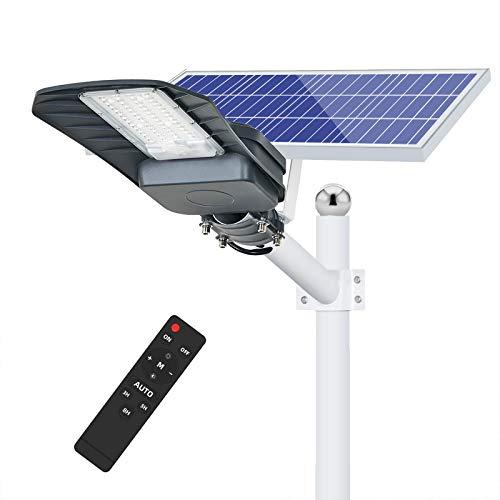 200W Lampione Solare Led Esterno con Telecomando, 2200lm Luce Fredda, IP65 Impermeabile LED Lampione per Strade, Cortili e Parcheggi