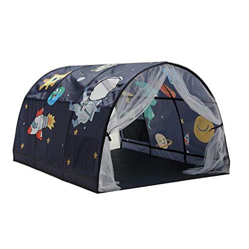 YJYQ Cama con Dosel Dream Tent Kids Play Tents Pop Up Playhouse para Niños,Tienda 2 En 1 Cama,Apto para Interior Y Exterior,Tamaño: 140x100x80CM,(Azul, Rosado)