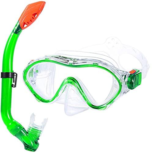 ZBYD Kits Diving Full Face Mask Kits Gafas de Snorkeling Submuestra Underwater Respirator Set Suministros Suministros Equipos de Buceo para niños 422 (Color : Green)